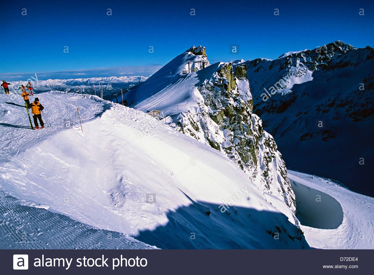 skiers hiking up to blackcomb glacier, blackcomb mountain, whistler