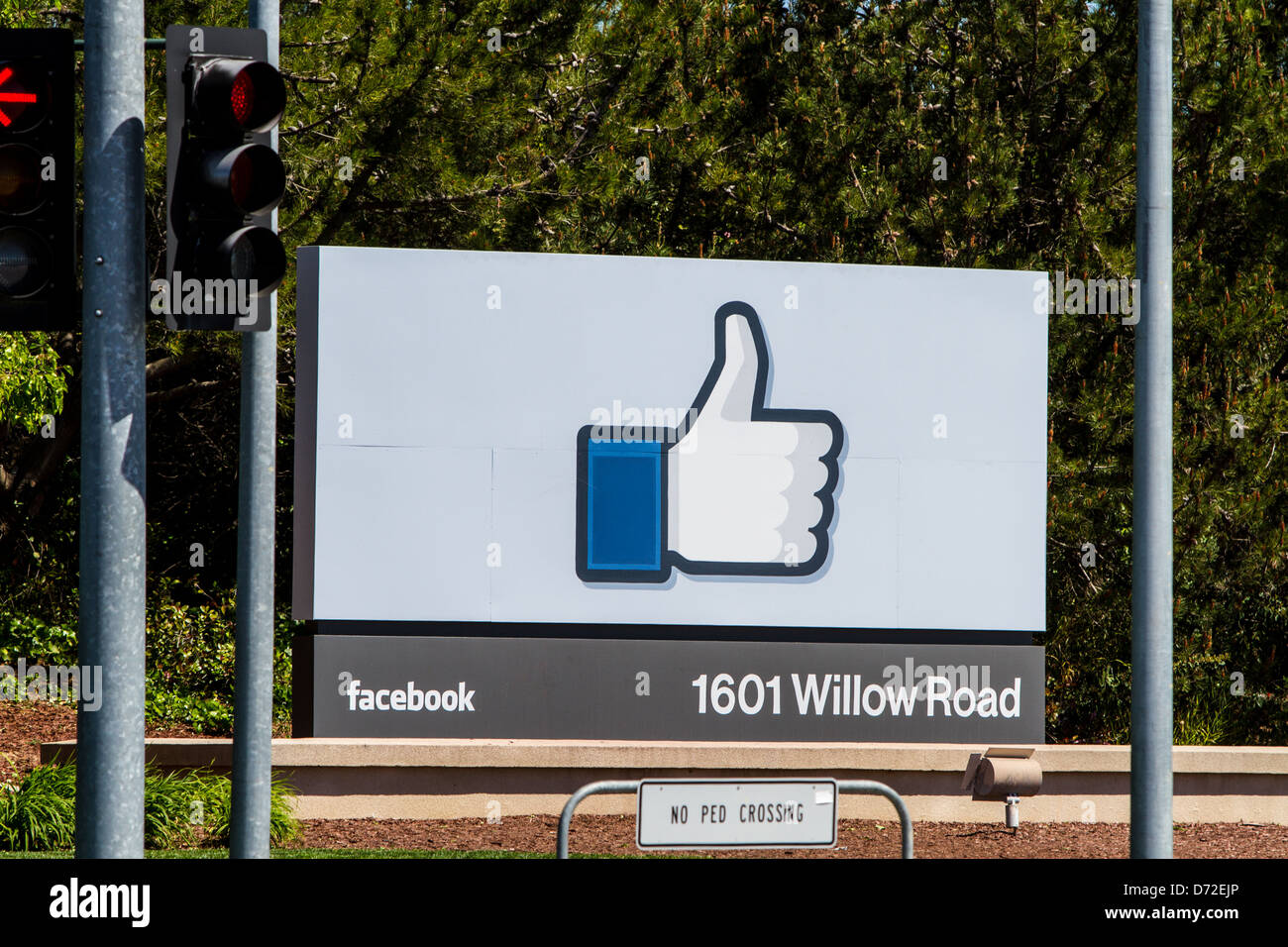 The sign in front of Facebook Headquarters in Menlo Park California