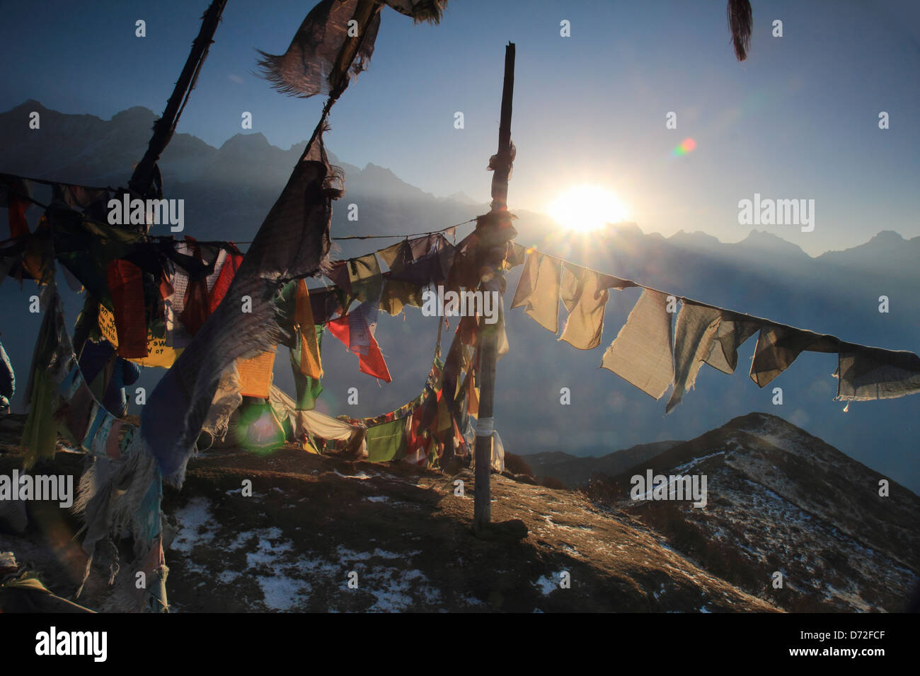 Prayer flag symbolizes the veneration of Indian descent who live in the valleys of Tibet. - Stock Image