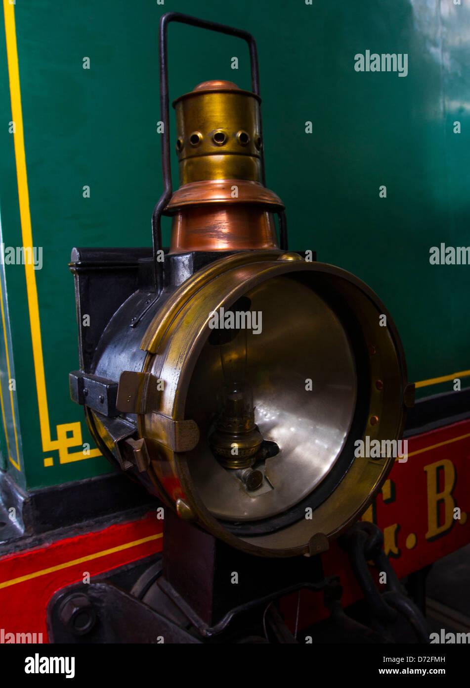 Antique train headlamp. - Stock Image