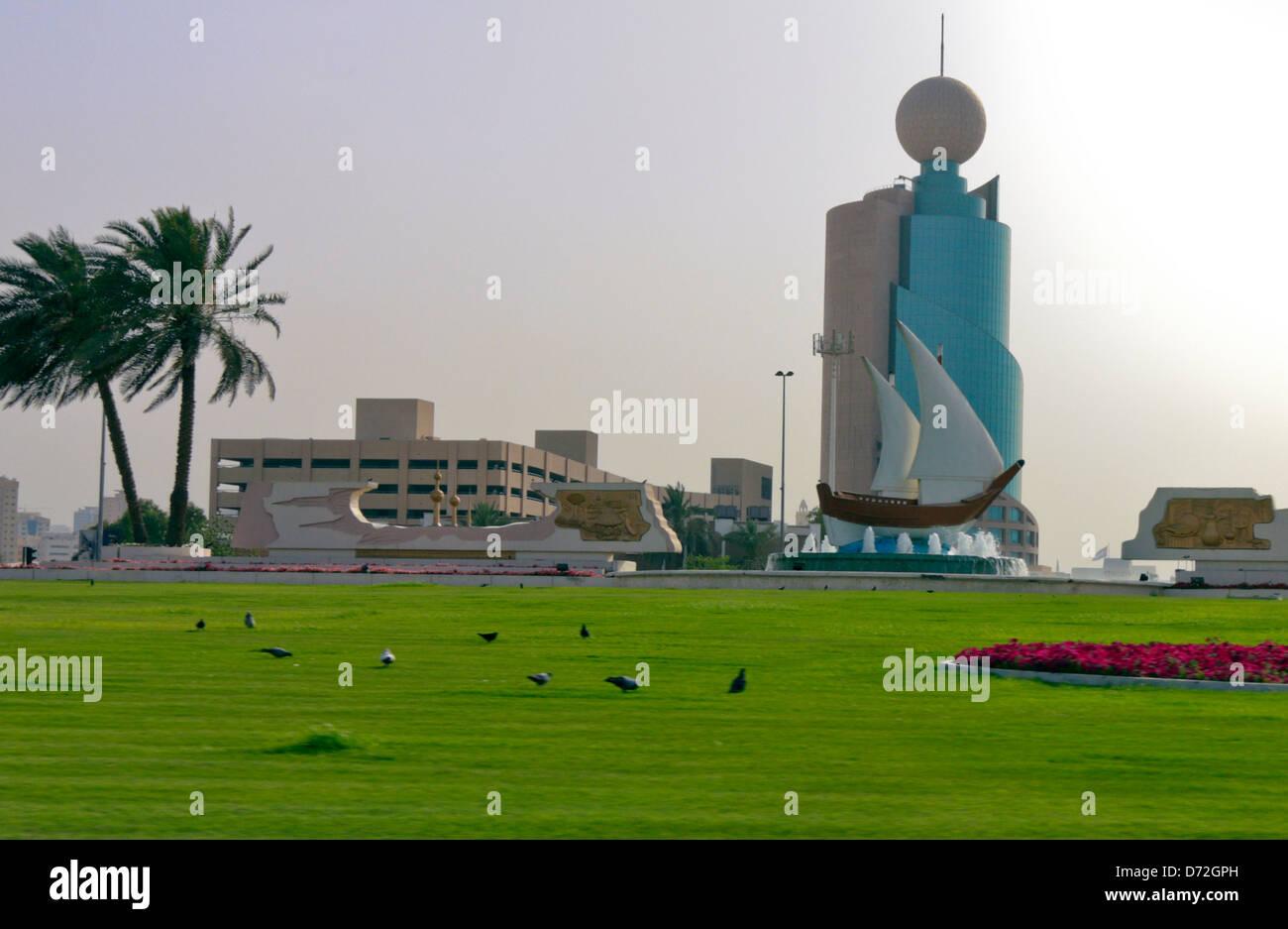 The Etisalat Building at the Kuwait Roundabout in Sharjah, United Arab Emirates, UAE - Stock Image