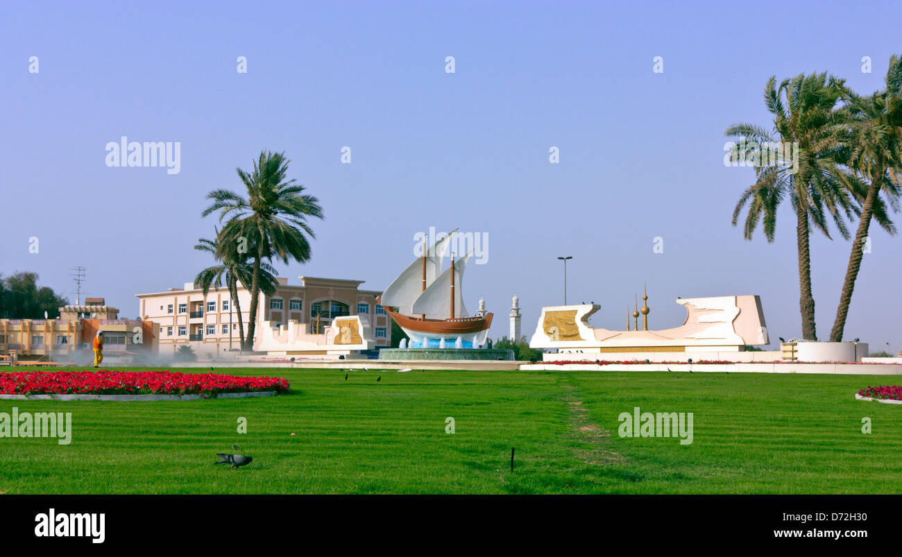 The Kuwait Roundabout in Sharjah, United Arab Emirates, UAE - Stock Image