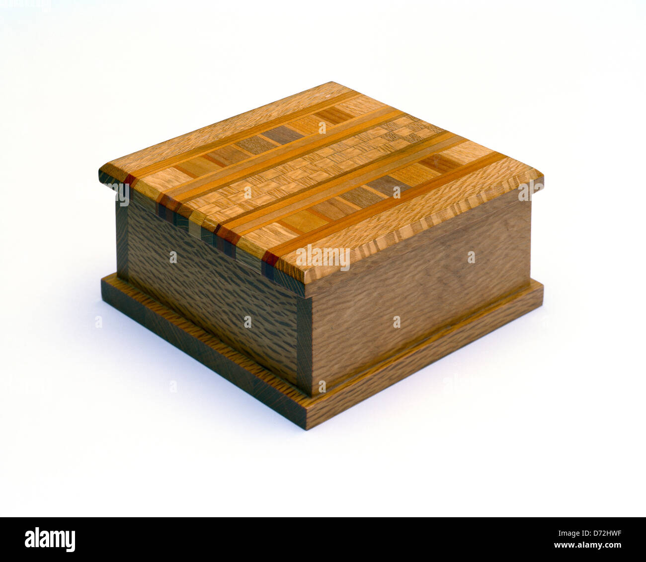 Small ornamental box crafted from native New Zealand timbers - Stock Image