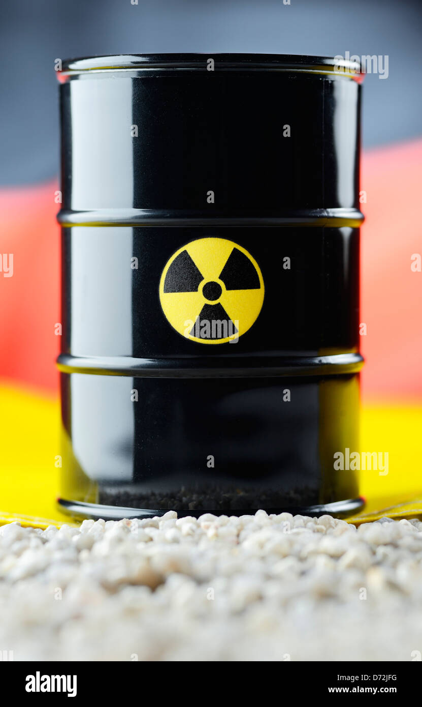 Nuclear waste barrel before a Germany flag - Stock Image