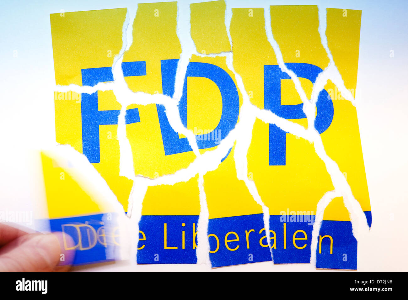Torn logo of the FDP, symbolic photo losses of votes for the FDP - Stock Image