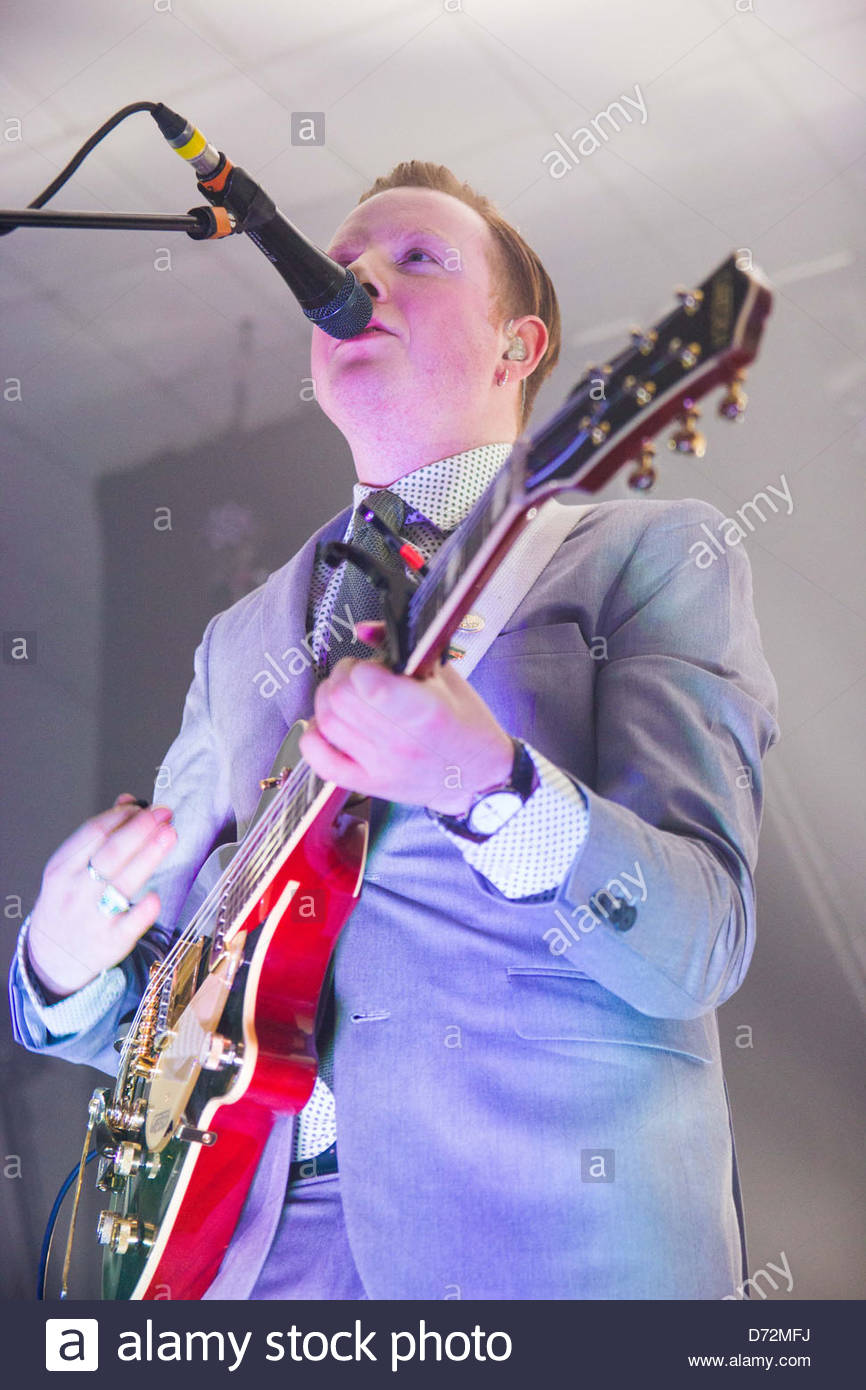 Alex Trimble of Two Door Cinema Club playing a sold out show at Edinburgh's Corn Exchange - Stock Image