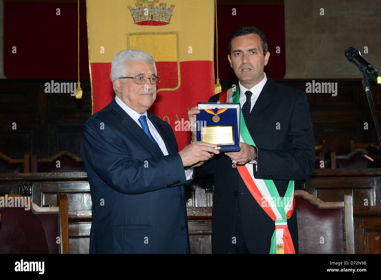 April 27, 2013 - Naples, Naples, Italy - Palestinian President Mahmoud Abbas (Abu Mazen) receives Medal of Honor Stock Photo