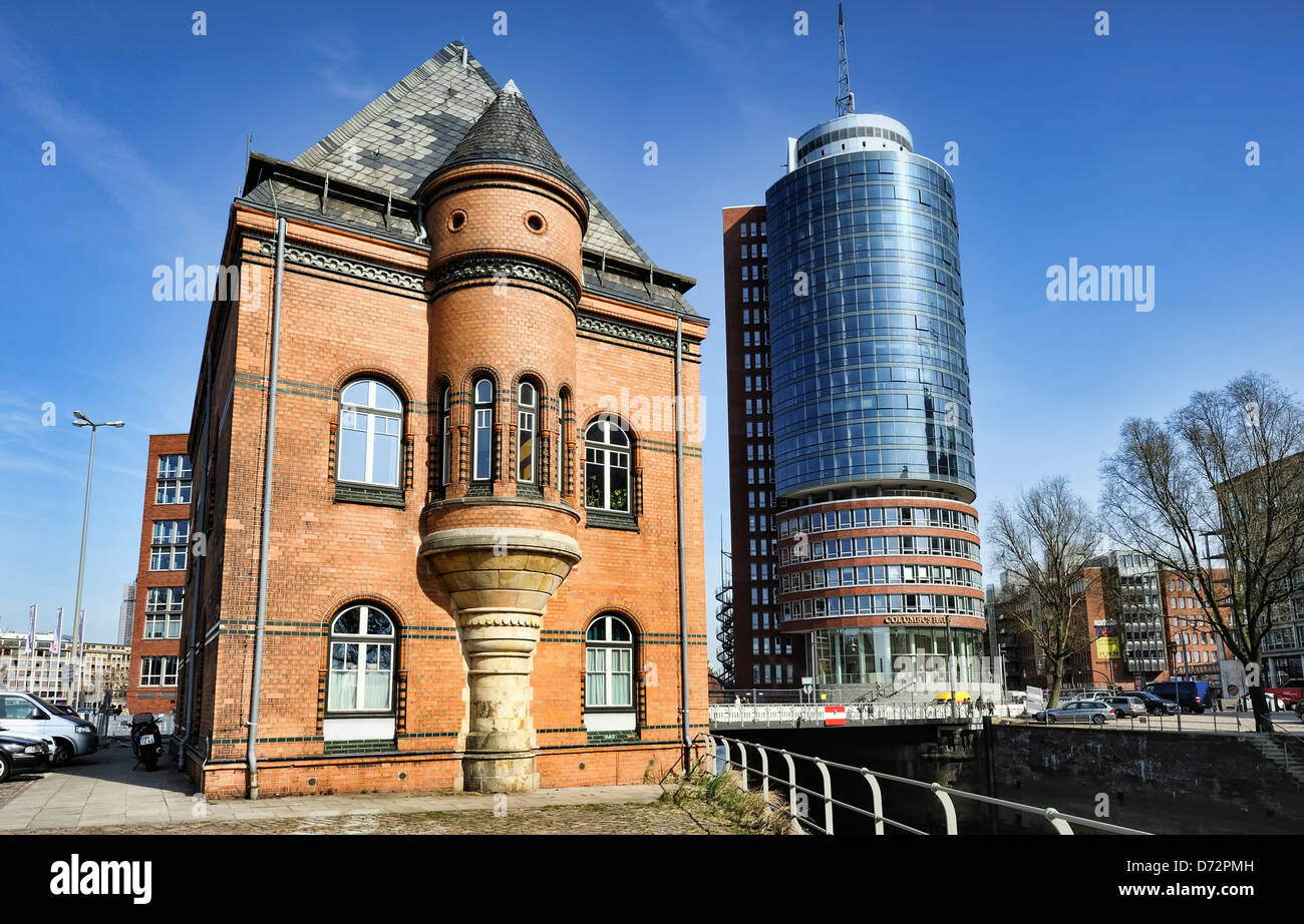 Police station and Columbus house on the edge of the memory town in Hamburg, Germany, Europe - Stock Image