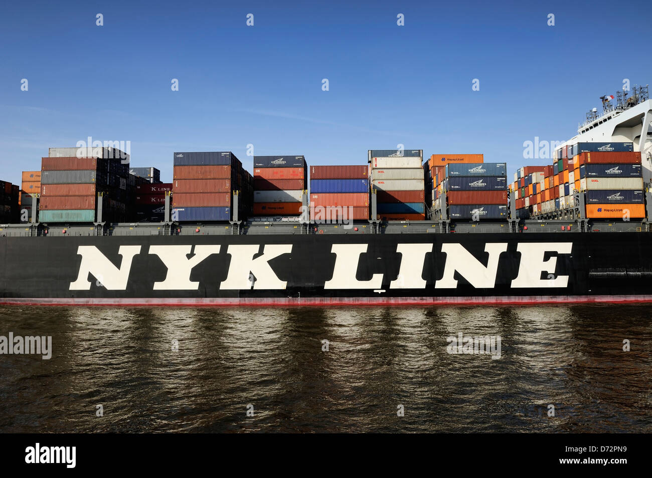 Container freighter NYK Arcadia on the Elbe by height Othmarschen, Hamburg, Germany, Europe - Stock Image