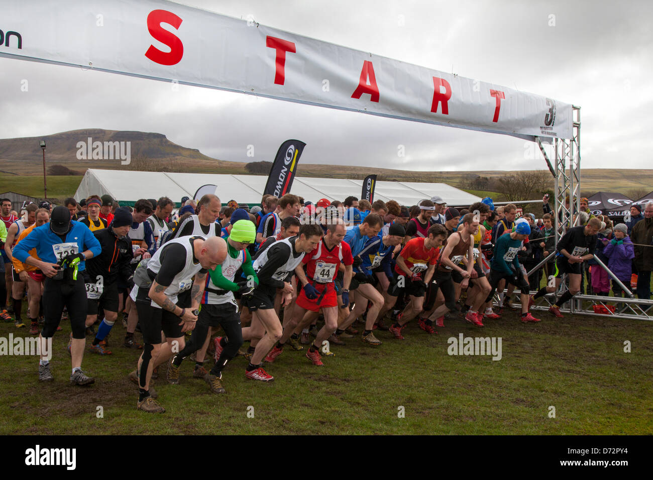 Yorkshire, UK. Saturday 27th April, 2013. The start of the Yorkshire Three Peaks Challenge.   The 59th Annual 3 - Stock Image