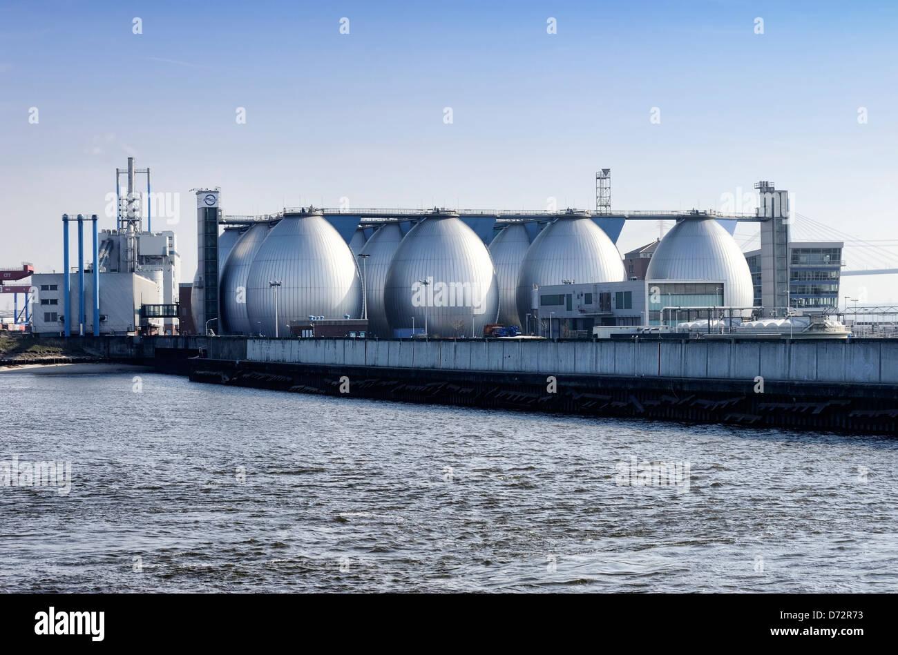 Sewage plant Köhlbrandhöft in Steinwerder, Hamburg, Germany, Europe - Stock Image