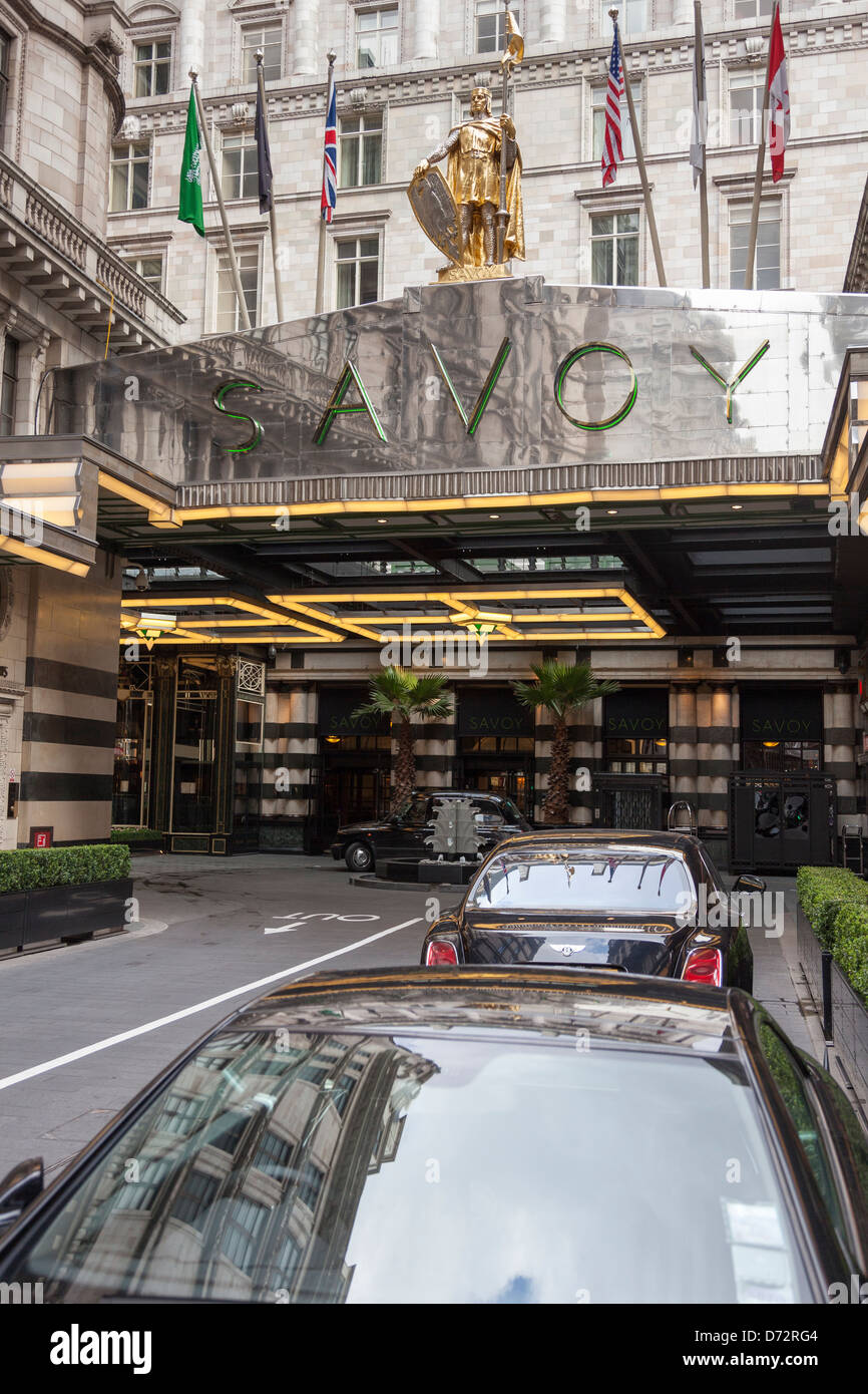 Exterior of The Savoy Hotel,The Strand,London,England - Stock Image