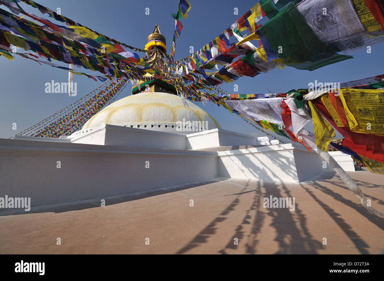 Prayer Flags at the Bodhnath Temple, Kathmandu, Nepal - Stock Image