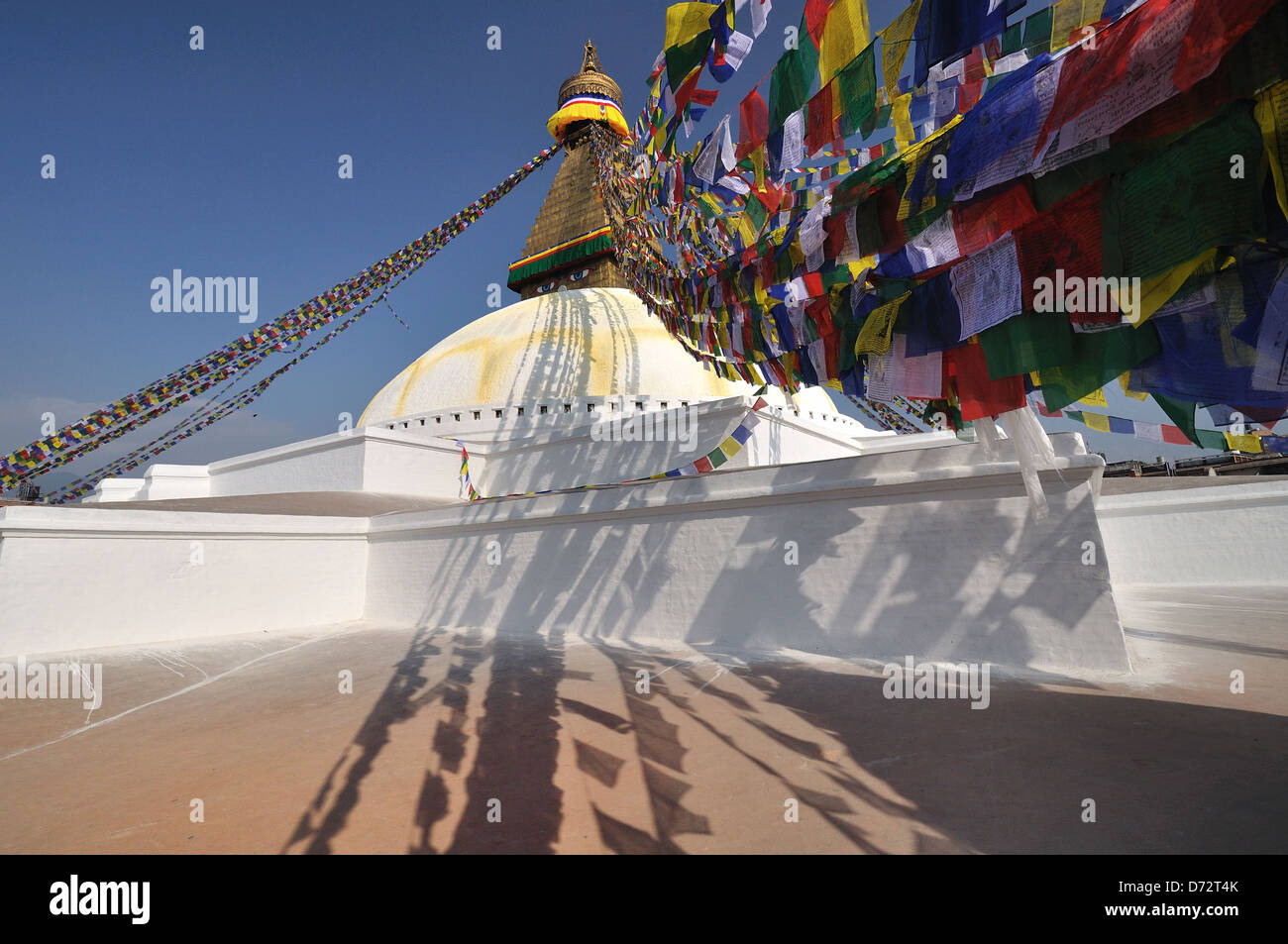 Prayer Flags at the Bodhnath Temple Kathmandu, Neapl - Stock Image
