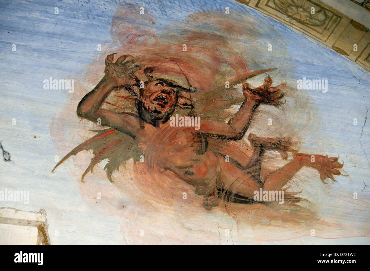 Painting of Satan in the cloister of the Abbey of Monte Oliveto Maggiore, Tuscany, Italy. - Stock Image