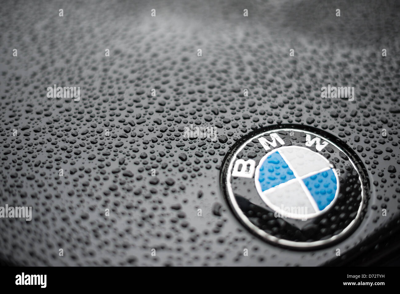 Close-up shot of a BMW badge on the hood of a black BMW car, with water droplets forming from rain. Shallow depth - Stock Image