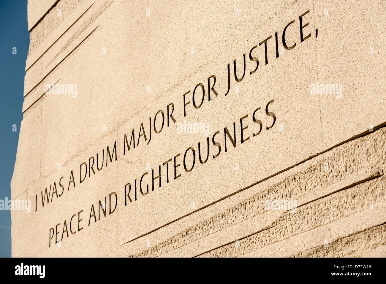 WASHINGTON DC, USA - Controversial inscruption at the Martin Luther King Jr Memorial on the banks of the Tidal Basin - Stock Image