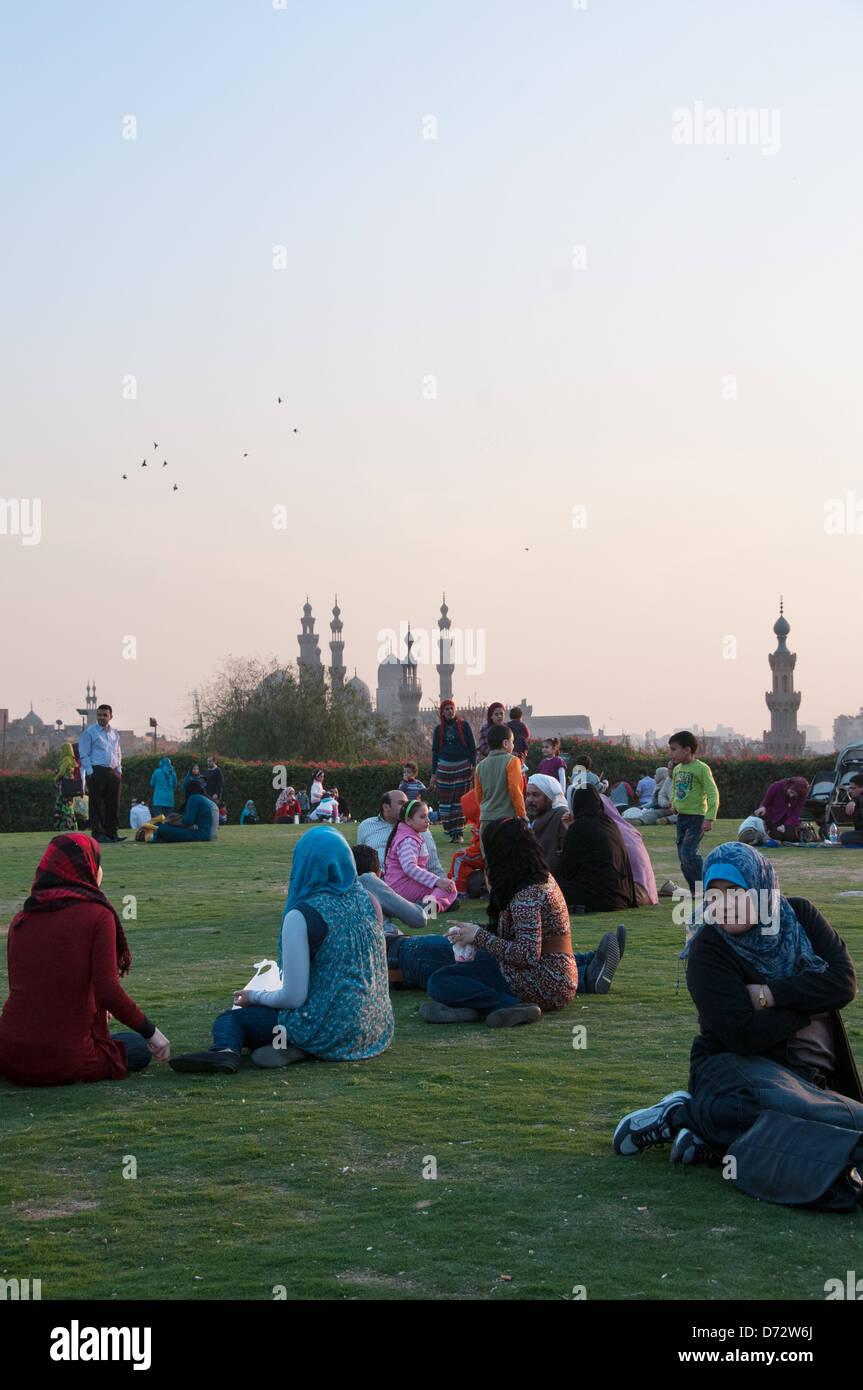 Beloved Al-Azhar park Cairo Egypt - Stock Image