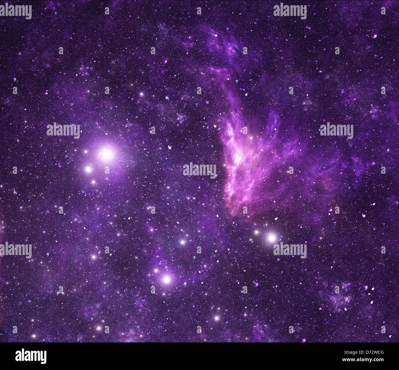Purple Space Background Nebula And Stars