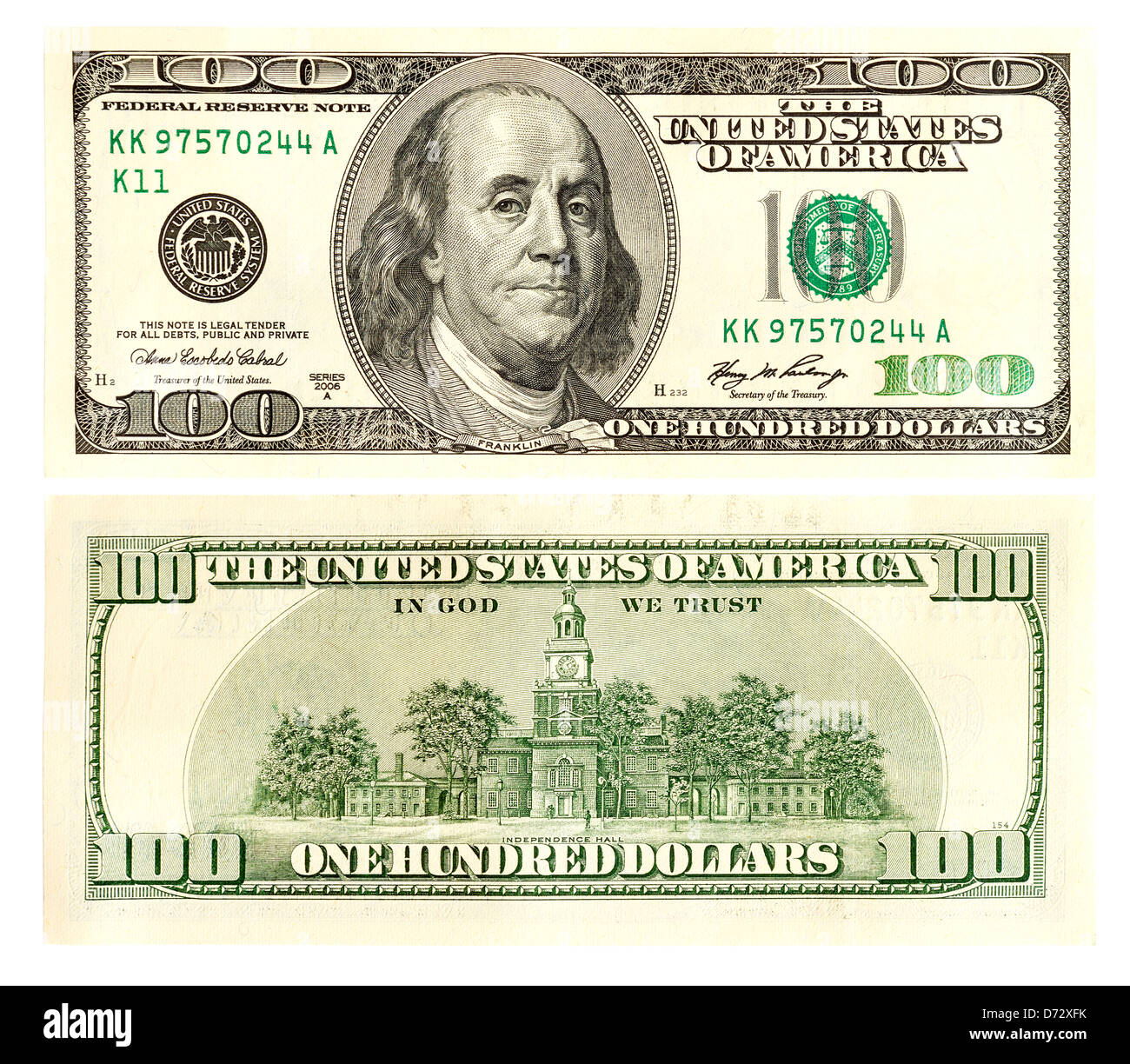 One hundred dollars front and back - Stock Image