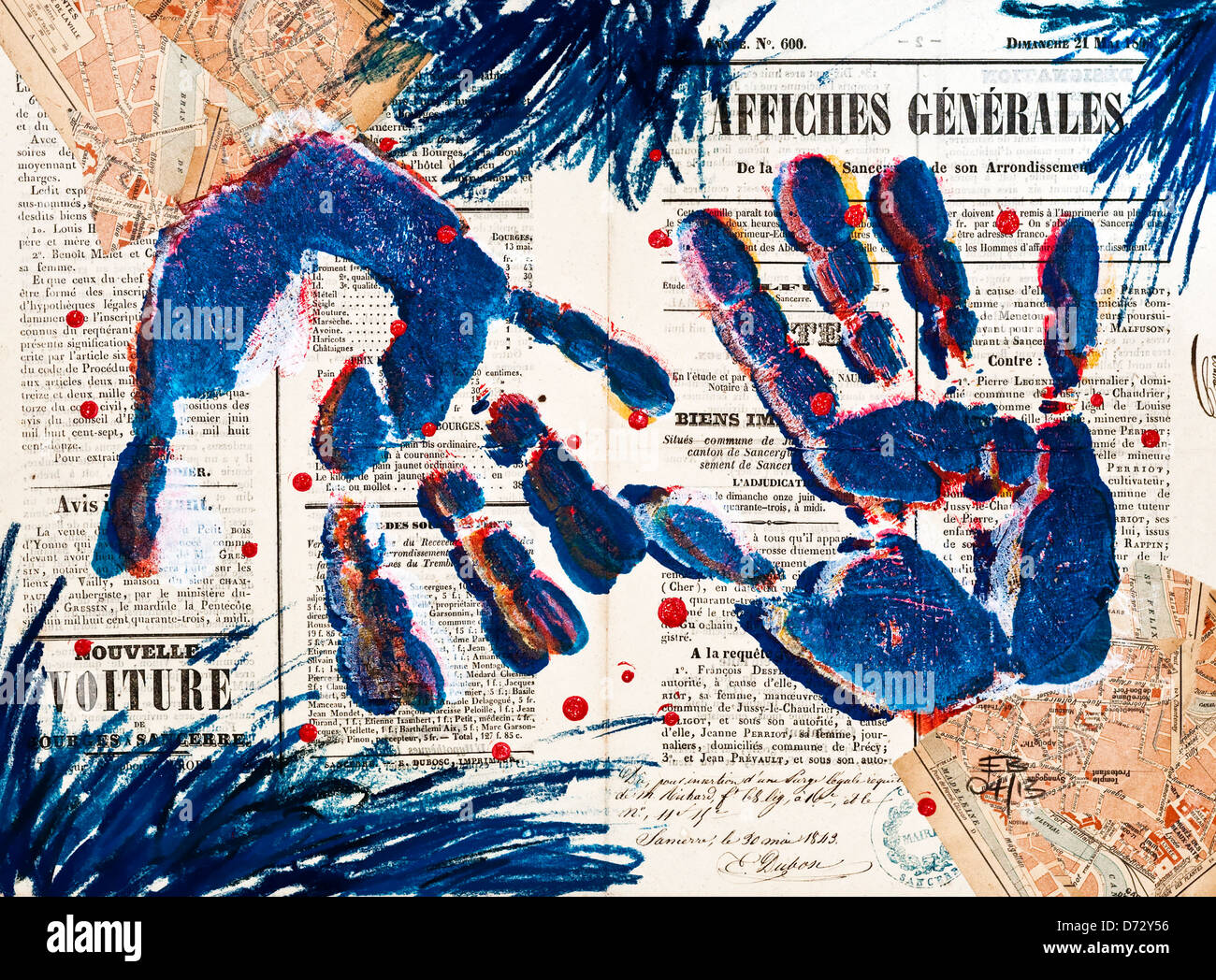 'Hands' abstract pastel collage / drawing illustration - artwork by Ed Buziak. - Stock Image