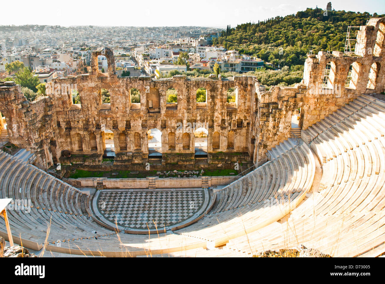 Antique Amphitheater On The Acropole In Greece Stock Photo 55999557