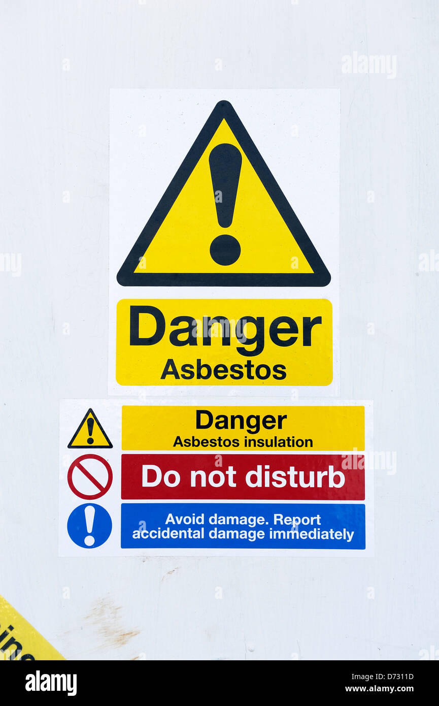 Danger asbestos sign england uk - Stock Image