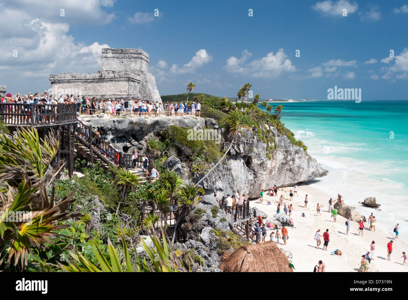 Mayan Ruins in the ancient city of Tulum, Yucatan, Mexico - Stock Image