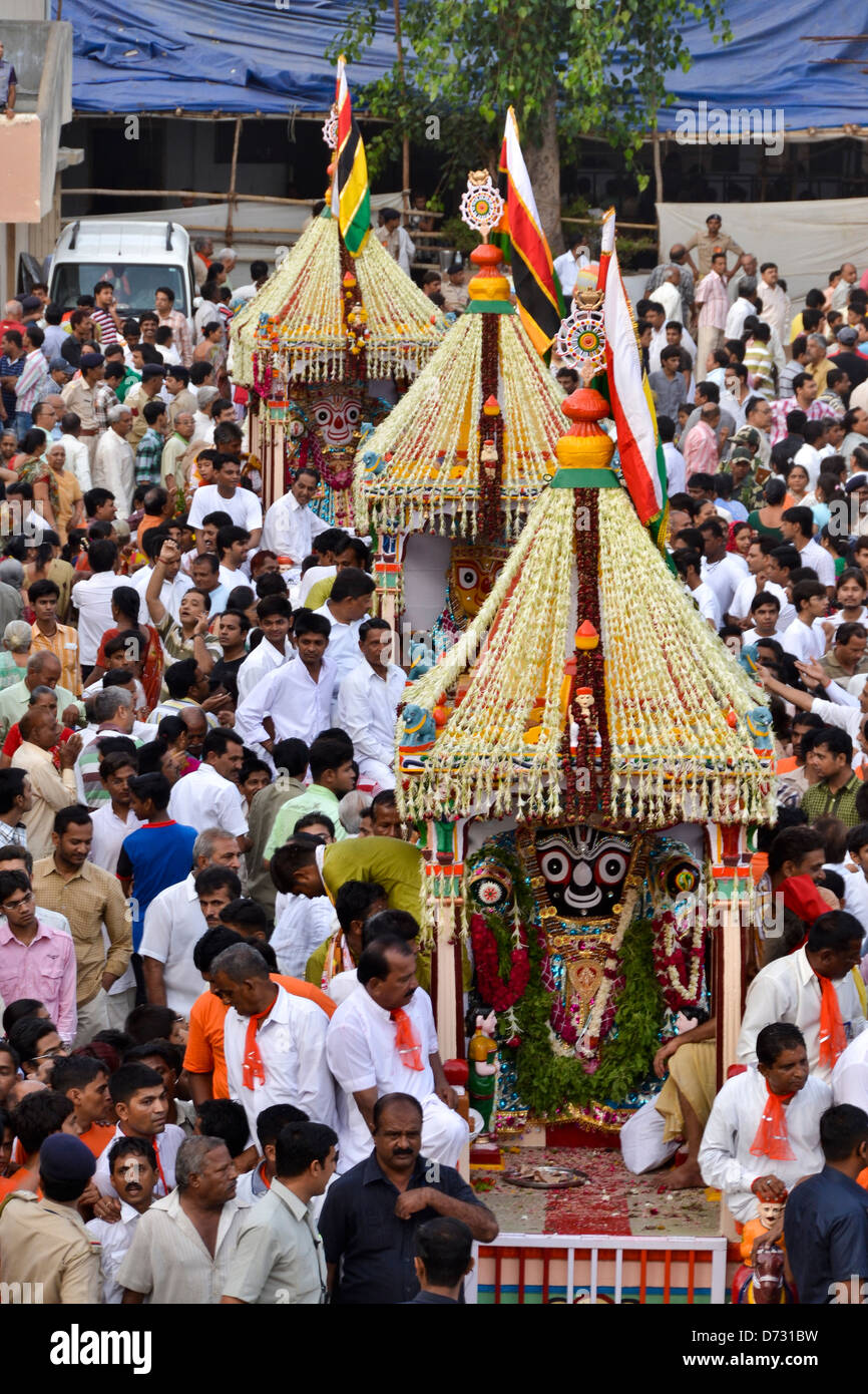 Devotees participate in the annual festival of Lord Jagannath Rath Yatra Stock Photo