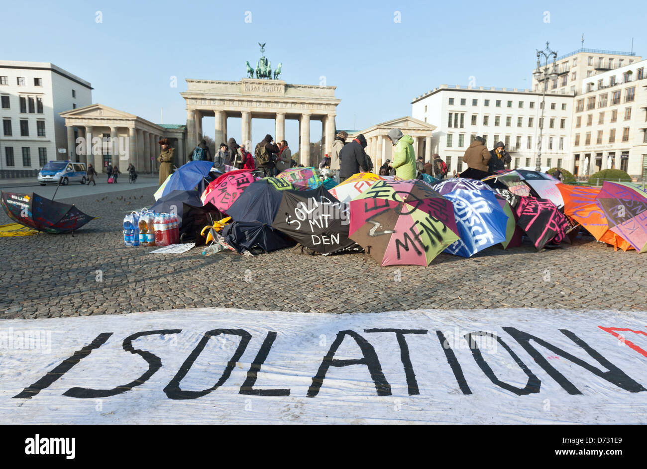 Berlin, Germany, the Refugee hunger strike in front of the Brandenburg Gate - Stock Image