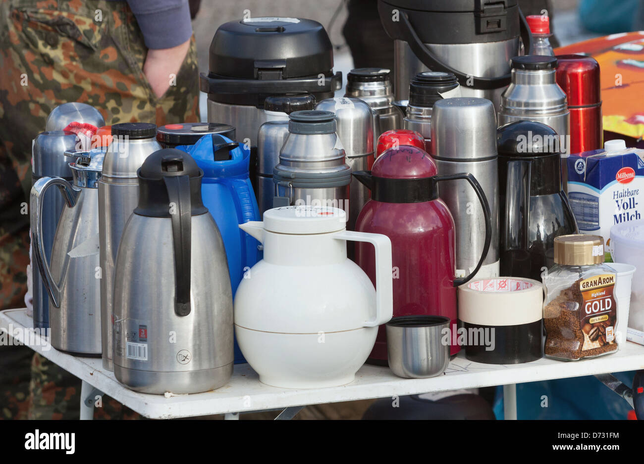 Berlin, Germany, thermos flasks during the Refugee hunger strike - Stock Image