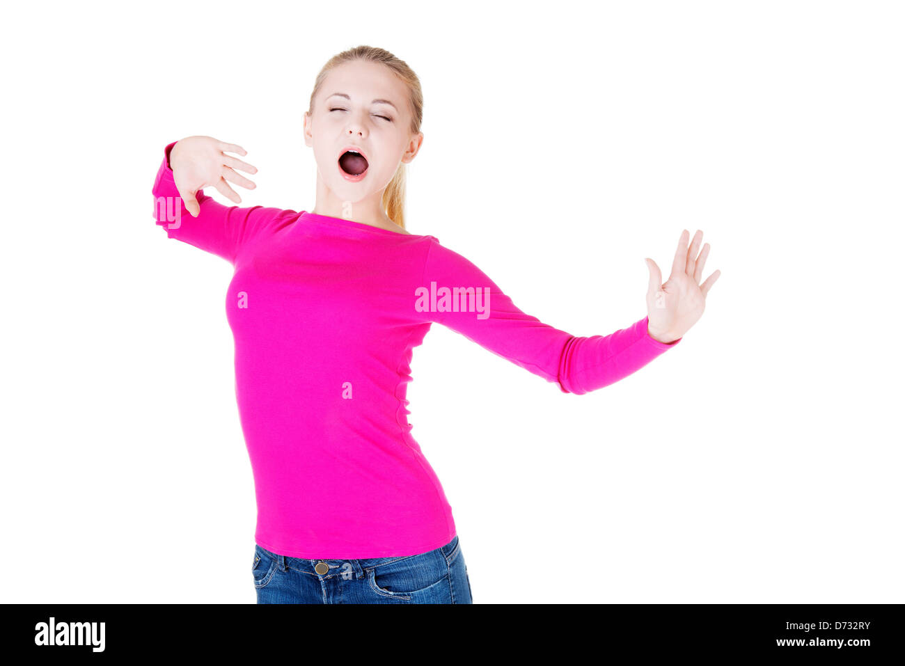 e9731267d8a20 Beautiful blond woman in pink blouse
