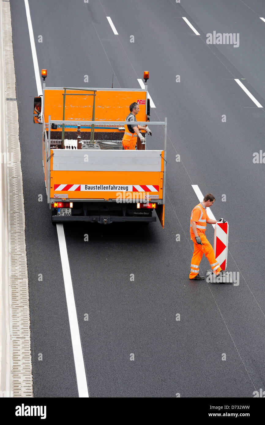 Koeln, Germany, Cologne 'beltway, closing a highway construction site Stock Photo