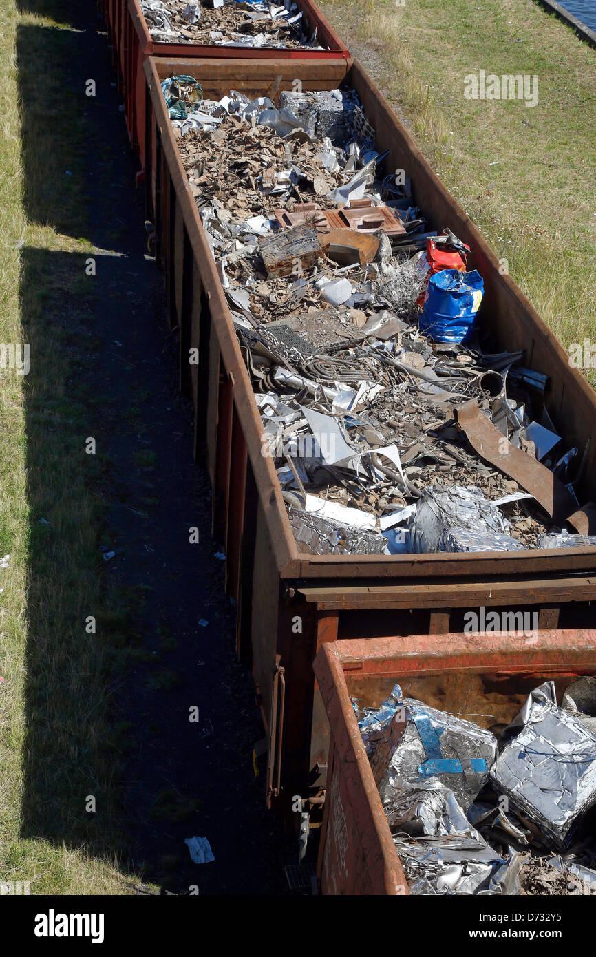 Duisburg, Germany, scrap metal in Gueterwagon - Stock Image