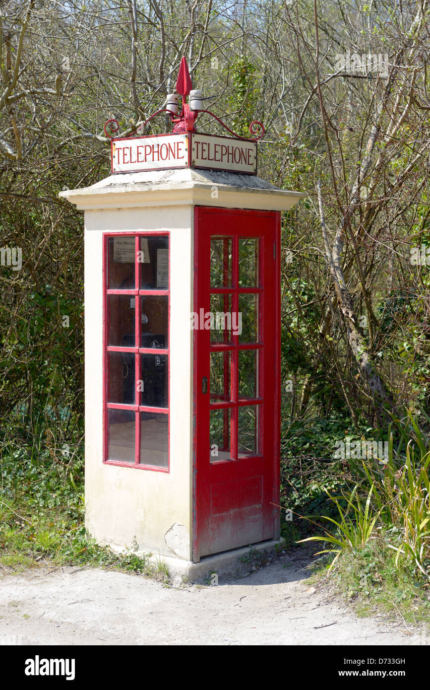 A vintage K1 Telephone kiosk at the Amberley Working museum, West Sussex, UK - Stock Image