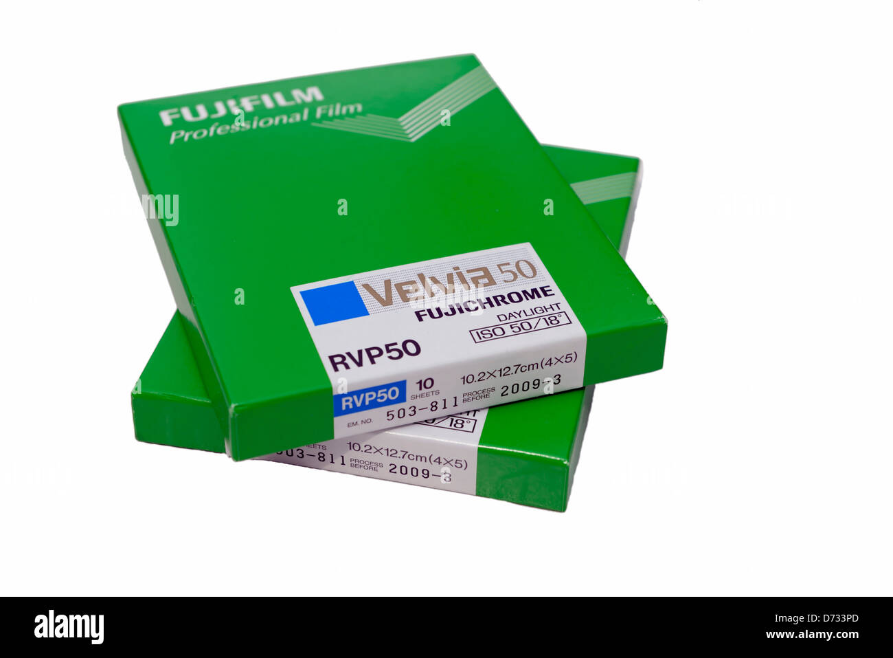 Boxes of Fujifilm Velvia 50 4x5 transparency film - Stock Image