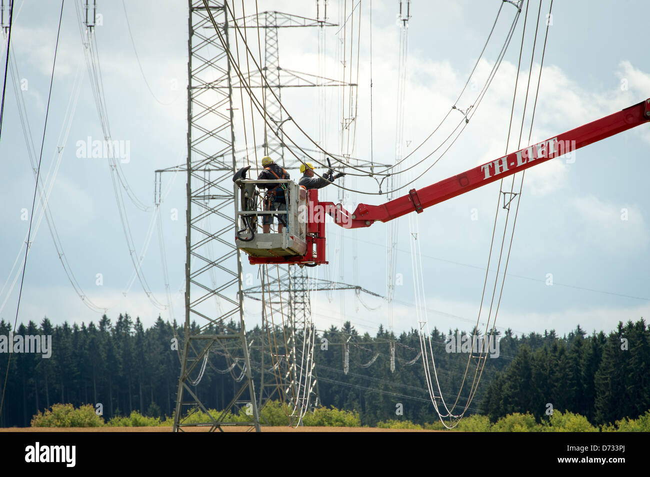 Remptendorf, Germany, new construction of high-voltage lines Stock Photo