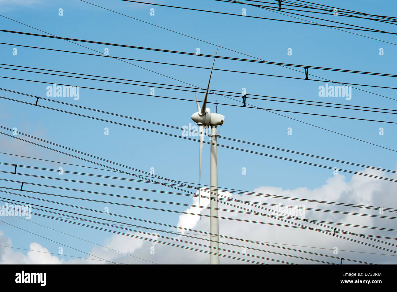 Remptendorf, Germany, power lines and wind turbine Stock Photo