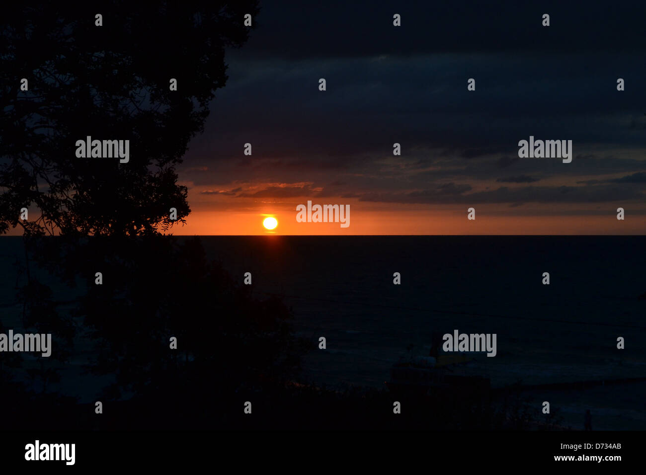 a sunset on the Polish Baltic coast - Stock Image