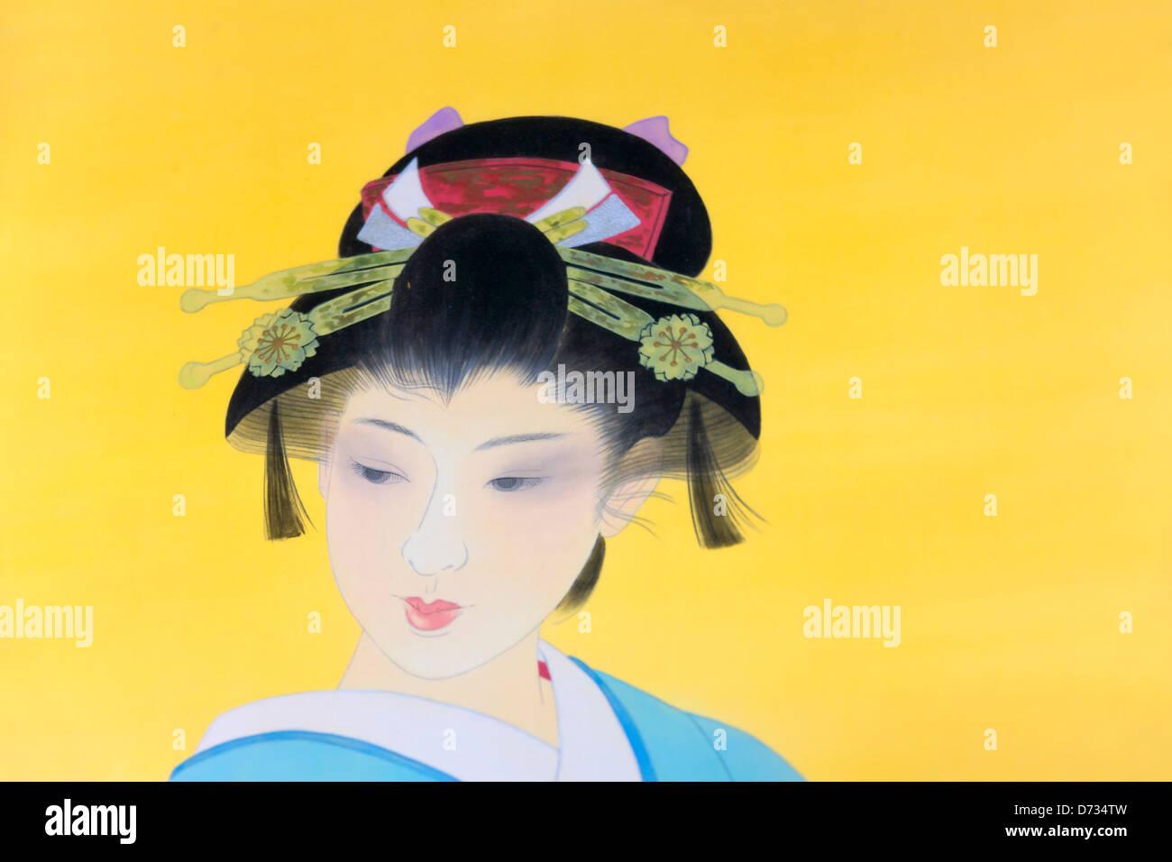 Ukiyo-e wood block prints of traditional Japanese ladies, Japan - Stock Image