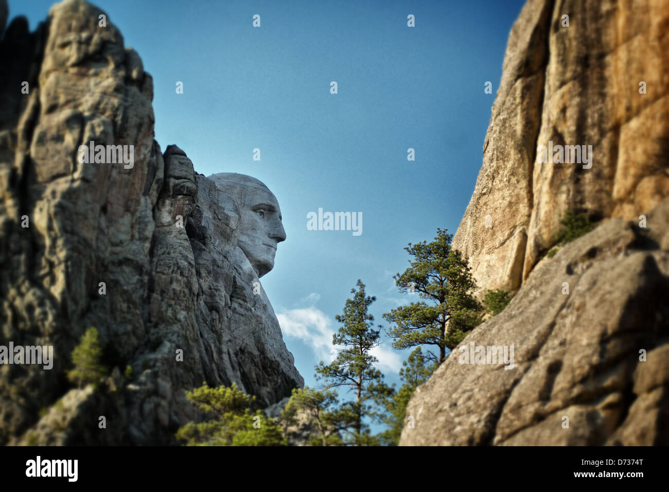 George Washington's profile stands out from the carving of Mount Rushmore. Stock Photo