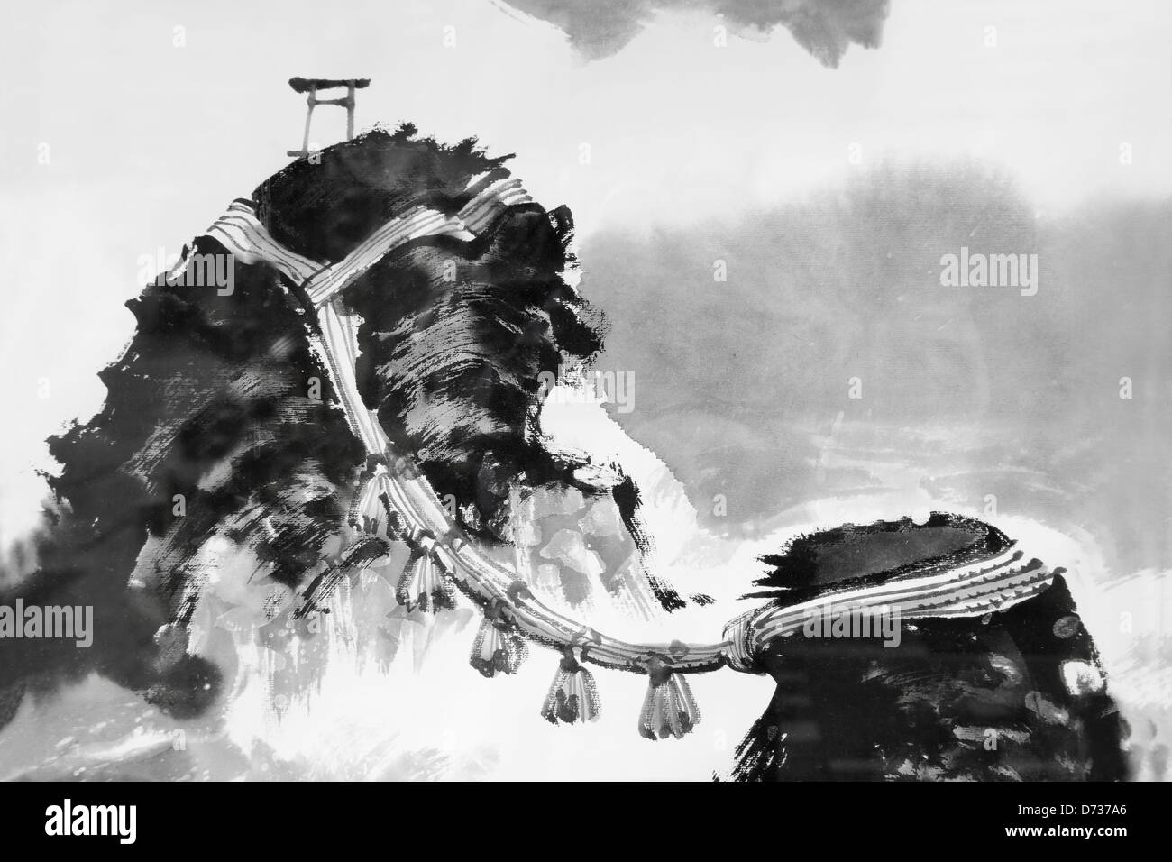 Japanese painting depicting meoto iwa husband and wife rocks ise