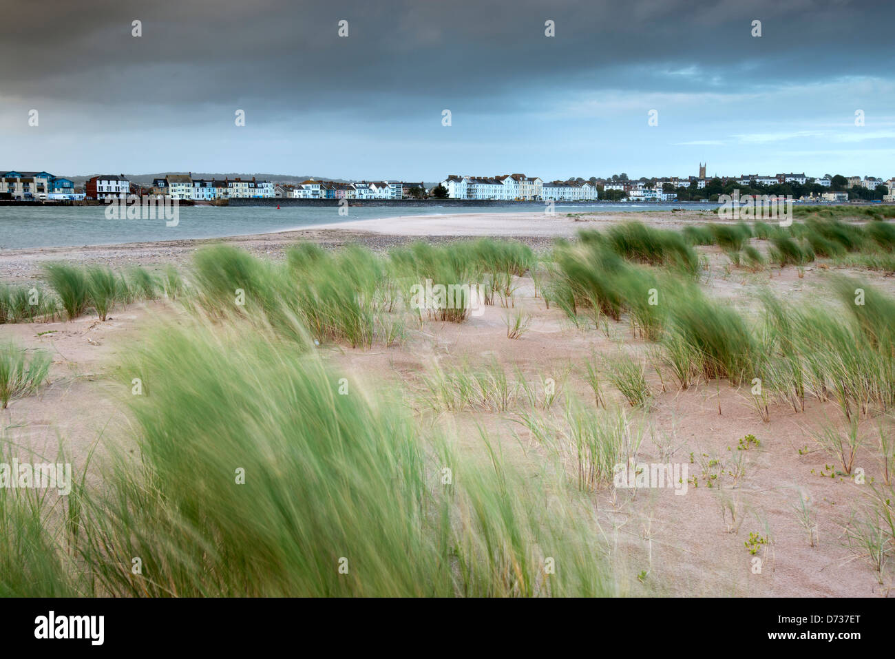 View of Exmouth from Dawlish Warren Point. - Stock Image