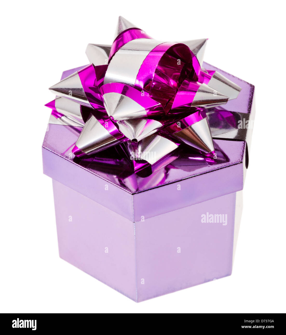 shiny magenta gift box with tinsel knot isolated on white background - Stock Image