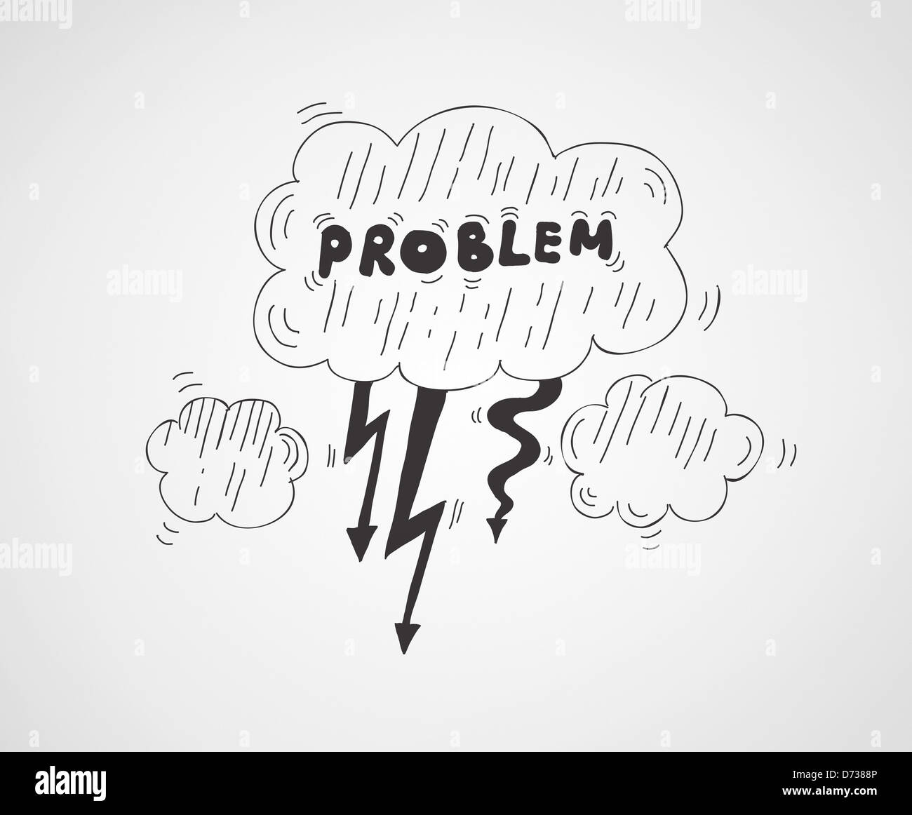 Vector Illustration Concept Of Cloud Symbol With The Problem Word