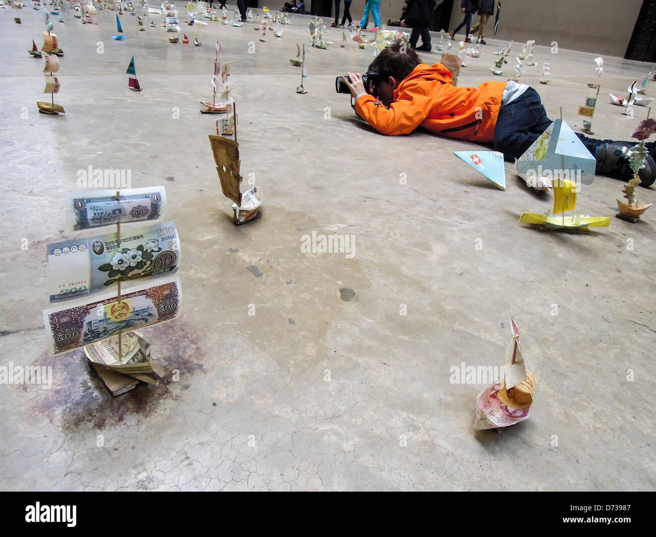 Susan Stockwell's Sail Away project at the Tate Modern as part of the series Hyperlink on 27th and 28th of April. - Stock Image
