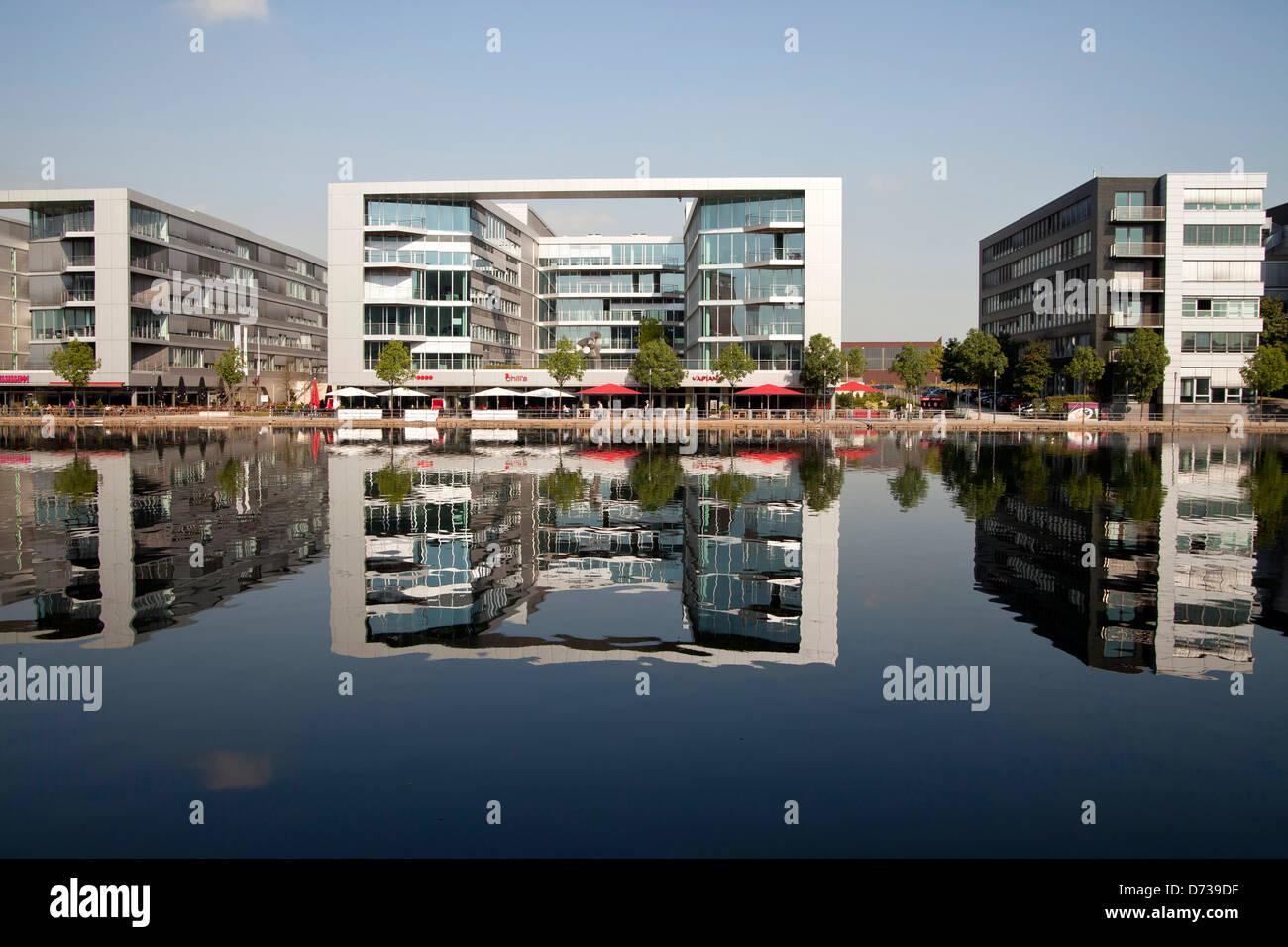 modern architecture at Duisburg Inner Harbour, Duisburg, North Rhine-Westphalia, Germany, Europe Stock Photo