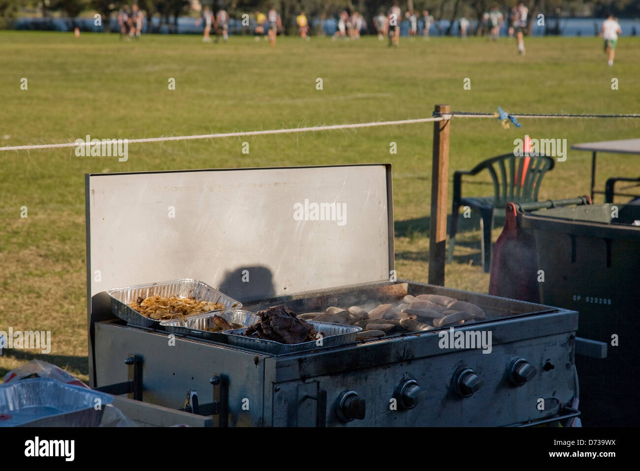 australian barbeque at local rugby league game Stock Photo
