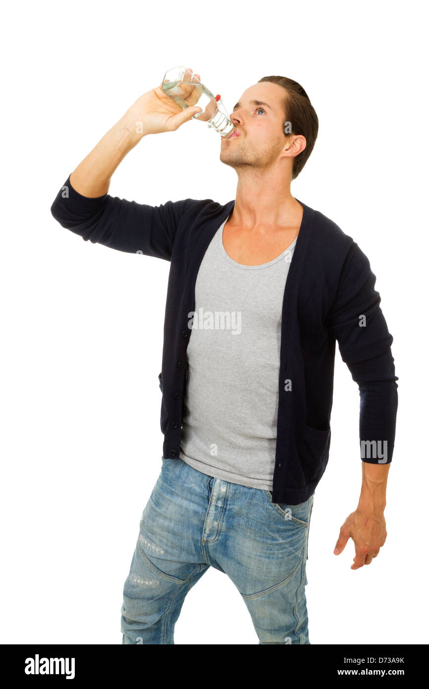 Man drinking fresh water. Isolated on white. - Stock Image