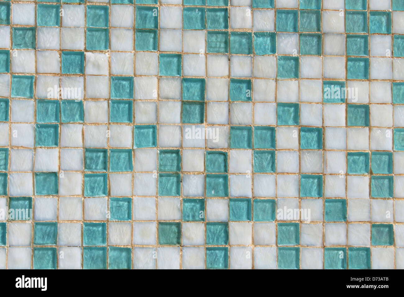 Background of teal blue and white ceramic small square tiled wall ...